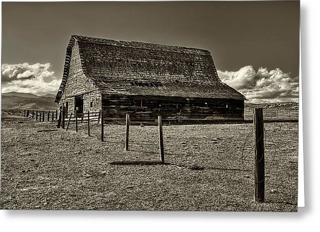 Rural Montana Barn In Sepia Greeting Card by Mark Kiver