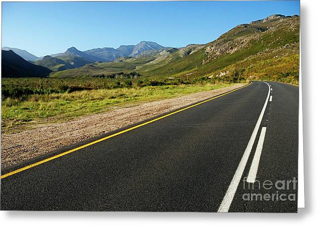 Stellenbosch Greeting Cards - Rural road Greeting Card by Sami Sarkis