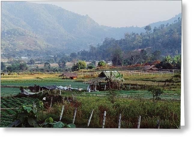 Farm Structure Greeting Cards - Rural Scene Near Chiang Mai, Thailand Greeting Card by Bilderbuch