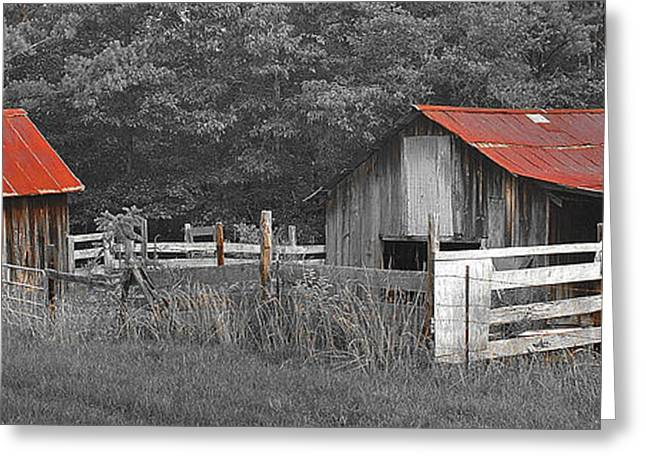Red Roofed Barn Greeting Cards - Rural Serenity Black and White version - red roof barn rustic country rural Greeting Card by Jon Holiday