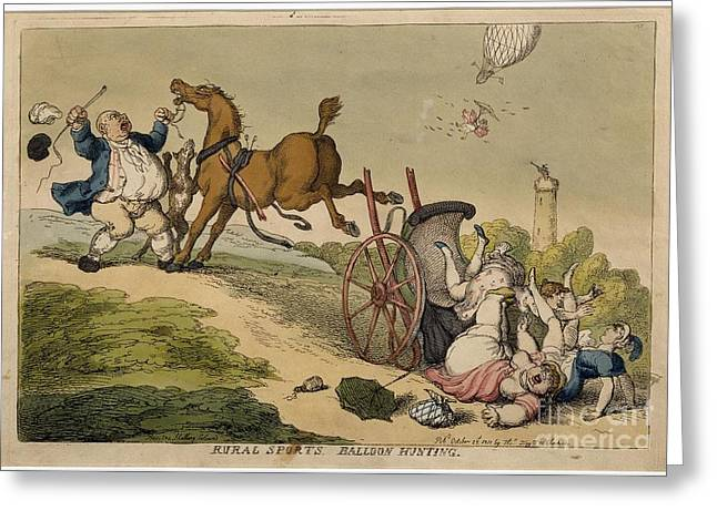 Rowlandson Greeting Cards - Rural Sports Balloon Hunting Greeting Card by Celestial Images