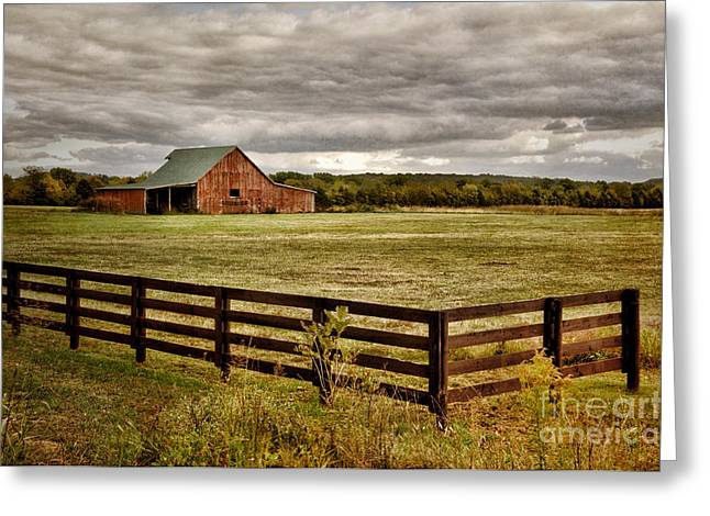 Cheryl Davis Greeting Cards - Rural Tennessee Red Barn Greeting Card by Cheryl Davis