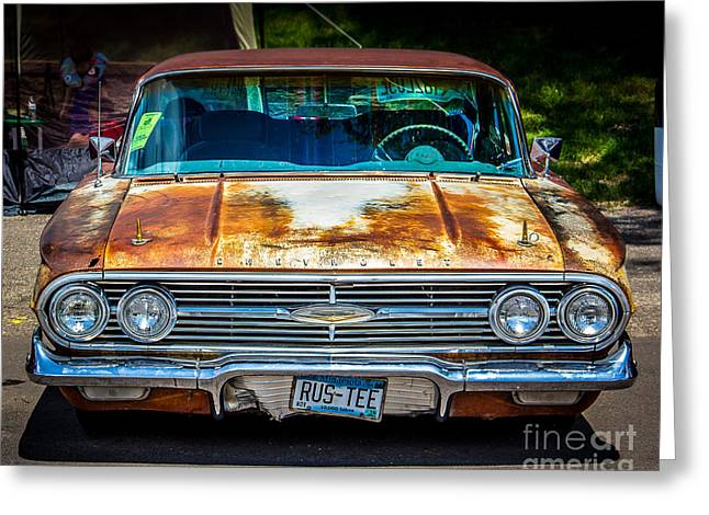 Rusted Cars Greeting Cards - Rus-tee Greeting Card by Perry Webster