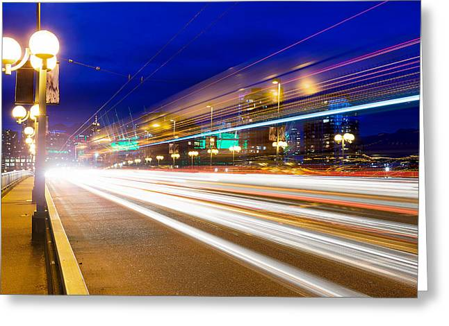 Cambie Bridge Greeting Cards - Rush Hour Light Trails on Cambie Bridge Greeting Card by Jpldesigns