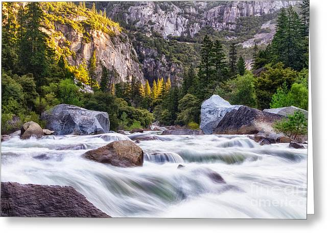 Sierra Gold Greeting Cards - Rush of the Merced Greeting Card by Anthony Bonafede