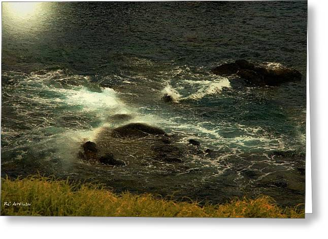 Sea Moon Full Moon Greeting Cards - Rushing Over the Rocks Greeting Card by RC deWinter
