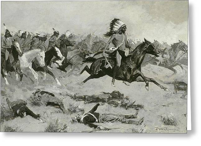 Rushing Red Lodges Passed Through The Line Greeting Card by Frederic Remington