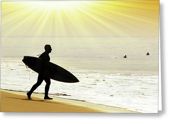 Surf Greeting Cards - Rushing Surfer Greeting Card by Carlos Caetano