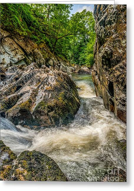River. Clouds Greeting Cards - Rushing Waters  Greeting Card by Adrian Evans