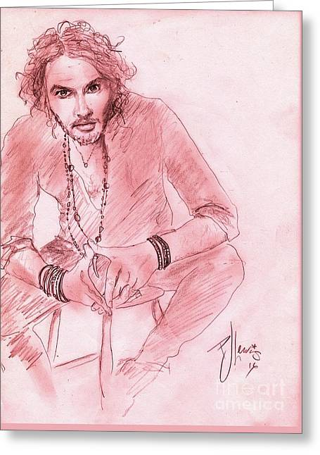 Russell Brand Greeting Card by P J Lewis