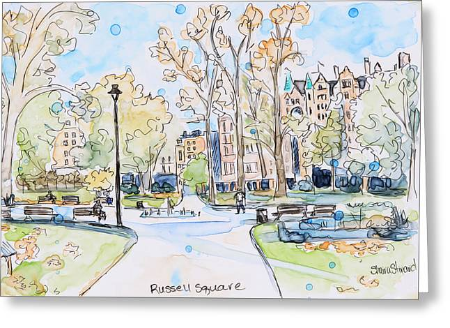 Russell Square Greeting Card by Shaina Stinard