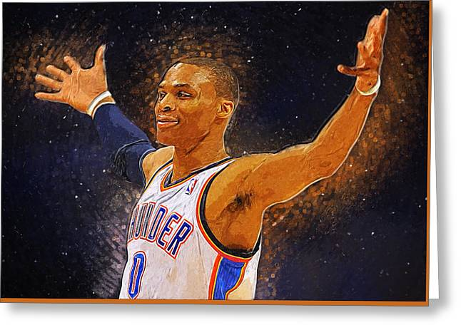 Artest Houston Rockets Greeting Cards - Russell westbrook Greeting Card by Semih Yurdabak