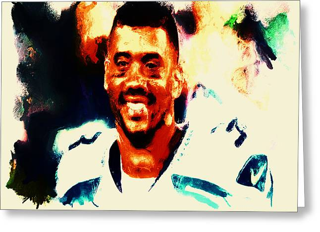 Carrington Greeting Cards - Russell Wilson 02b Greeting Card by Brian Reaves