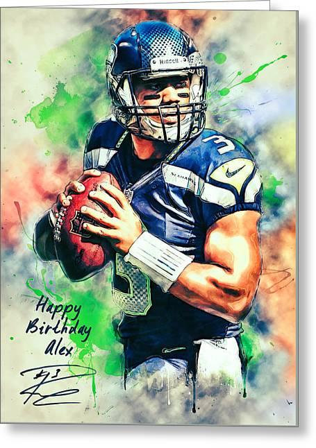 American Football Paintings Greeting Cards - Russell Wilson Custom Greeting Card by Taylan Soyturk