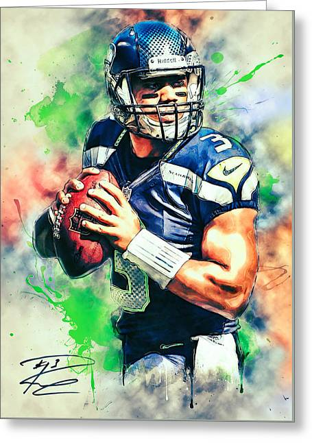 Pro Football Paintings Greeting Cards - Russell Wilson Greeting Card by Taylan Soyturk