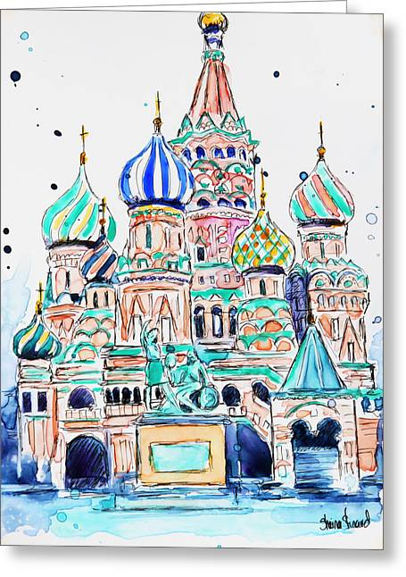 Russia, St. Basil Greeting Card by Shaina Stinard