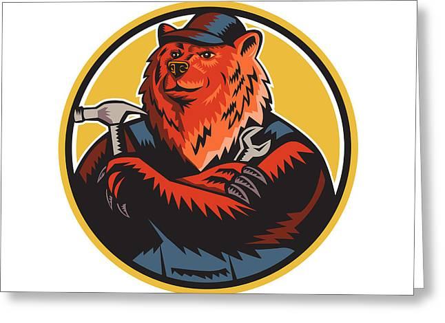 Russian Bear Builder Handyman Circle Woodcut Greeting Card by Aloysius Patrimonio