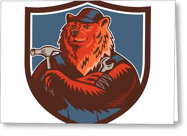 Russian Bear Builder Handyman Crest Woodcut Greeting Card by Aloysius Patrimonio