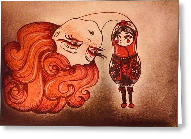 Split Drawings Greeting Cards - Russian doll spy Greeting Card by Summer Porter
