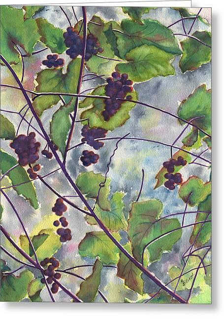 Grape Vines Greeting Cards - Russian Grapes Greeting Card by Marsha Elliott