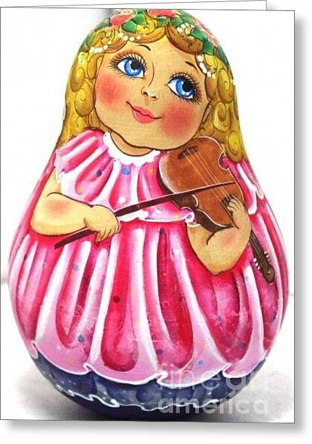 Freed Sculptures Greeting Cards - Russian Roly Poly Doll Music doll Greeting Card by Viktoriya Sirris