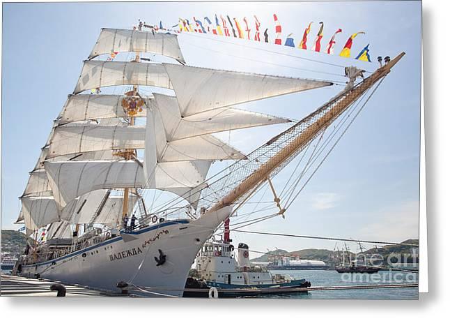 Sailing Ship Greeting Cards - Russian sailing ship Greeting Card by Aiolos Greek Collections