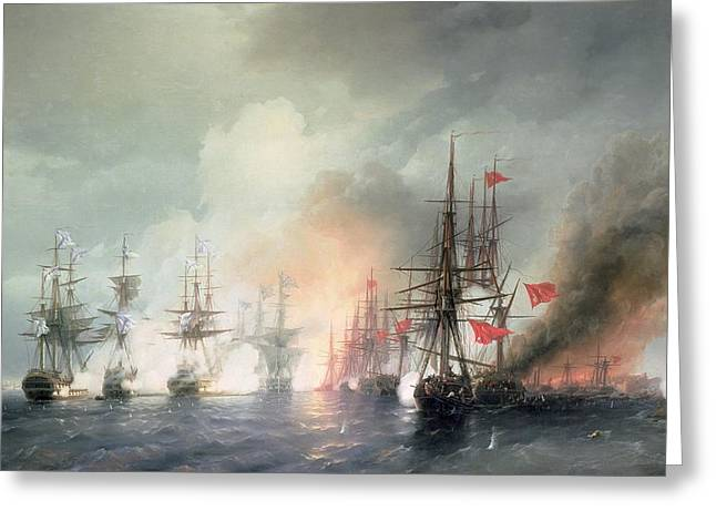 Pirates Paintings Greeting Cards - Russian Turkish Sea Battle of Sinop Greeting Card by Ivan Konstantinovich Aivazovsky