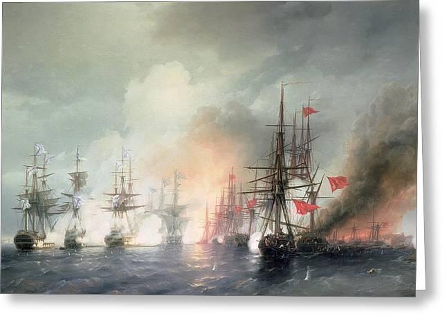 Russian Turkish Sea Battle of Sinop Greeting Card by Ivan Konstantinovich Aivazovsky