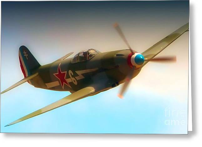 Planes Of Fame Greeting Cards - Russian Yak No.6  2011 Chino Air Show Greeting Card by Gus McCrea
