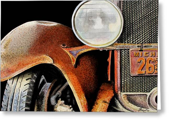 Rusted Cars Paintings Greeting Cards - Rust Never Sleeps Greeting Card by Ferrel Cordle