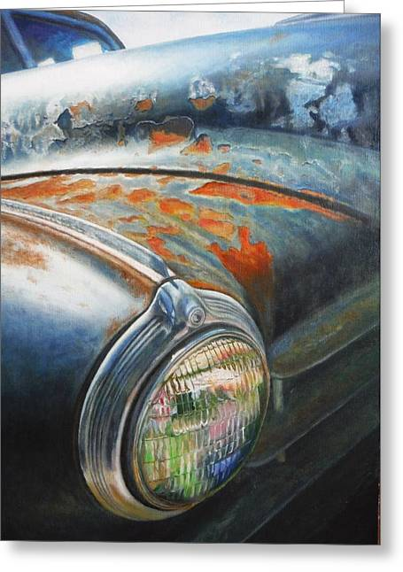 Rusted Cars Greeting Cards - Rust Never Sleeps Greeting Card by Joan Florido