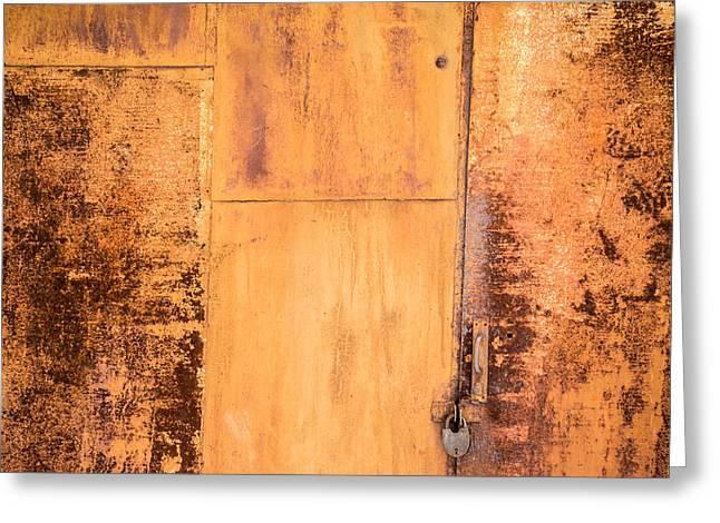Metallic Sheets Greeting Cards - Rust on Metal Texture Greeting Card by John Williams