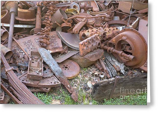 Bells Foundry Greeting Cards - Rusted Cast Iron Scrap Pile Greeting Card by Inga Spence