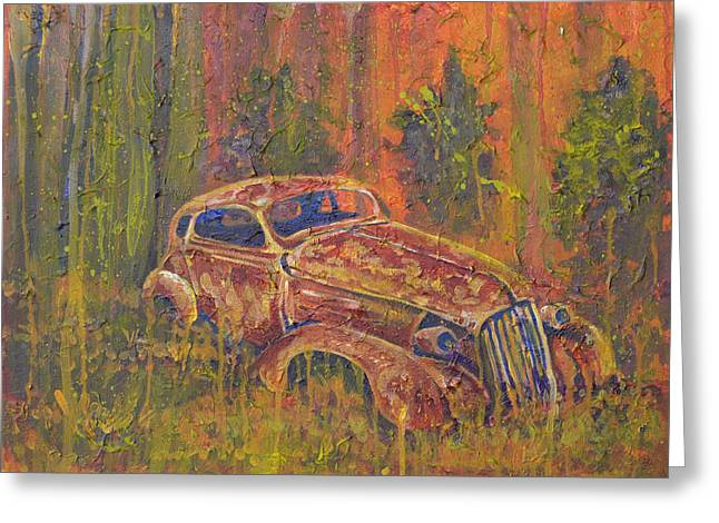 Algae Greeting Cards - Rusted Coupe Greeting Card by Chuck Jett