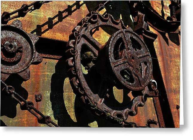Rusted Gears Greeting Card by Michelle Calkins