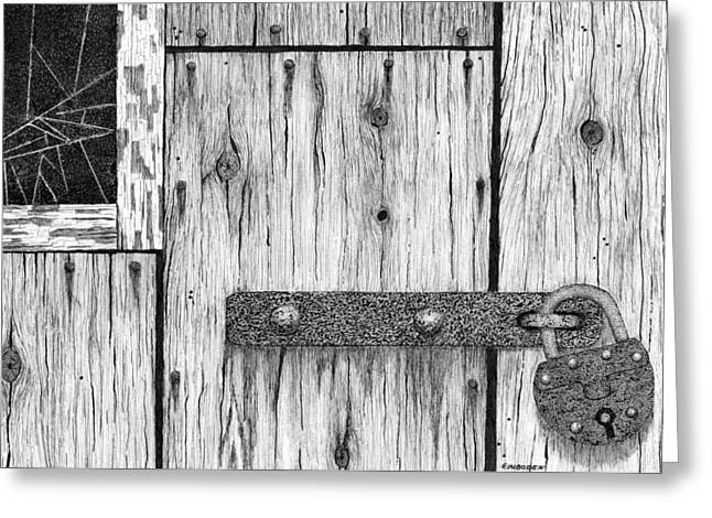 Barn Pen And Ink Greeting Cards - Rusted Lock And Cracked Window Greeting Card by Ed Einboden