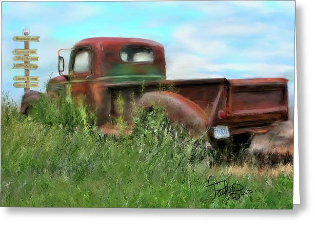 Rusted Cars Mixed Media Greeting Cards - Rusted Not Retired Greeting Card by Colleen Taylor