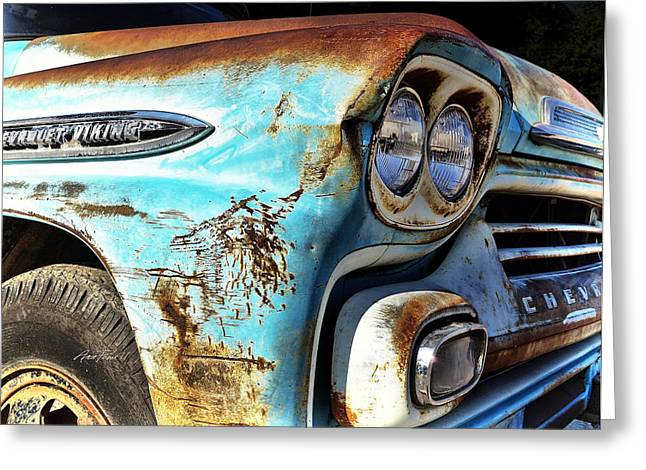 Blue Truck Greeting Cards - Rusted Old Chevy Truck - photography Greeting Card by Ann Powell