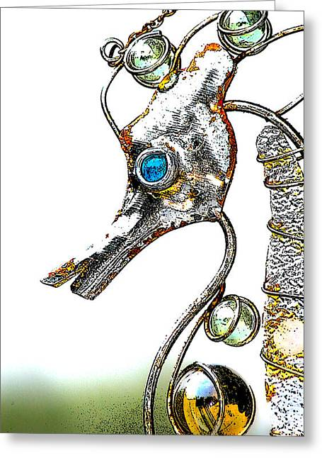 Wind Chimes Greeting Cards - Rusted Seahorse 2 Greeting Card by Frank Mari
