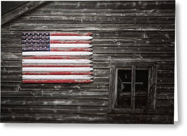 Rustic American Flag On A Weathered Grey Barn Greeting Card by Lisa Russo