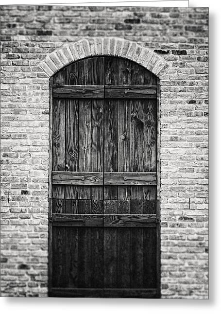 Old Door Greeting Cards - Rustic Austin Texas Doorway in Black and White Greeting Card by Lisa Russo