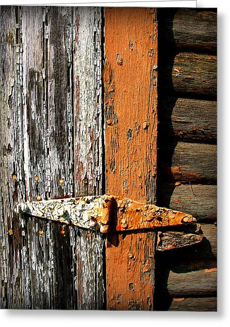 Wooden Shed Greeting Cards - Rustic Barn Hinge Greeting Card by Perry Webster