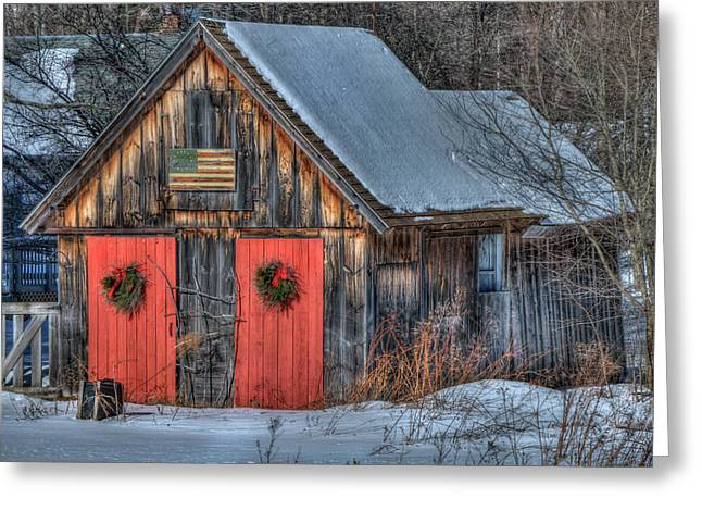 Rustic Barn With Flag In Snow Greeting Card by Joann Vitali