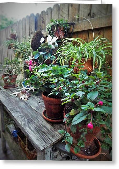 Potting Bench Greeting Cards - Rustic Bench and Potted Flowers Greeting Card by Jan Moore