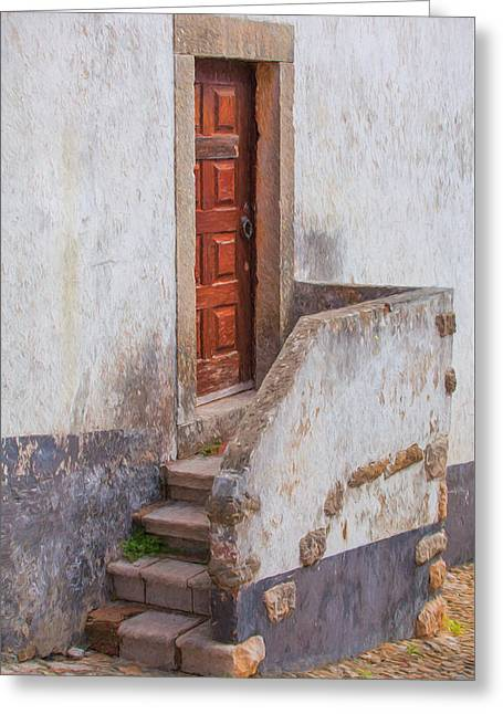 Kitchen Photos Paintings Greeting Cards - Rustic Brown Door of Portugal Greeting Card by David Letts