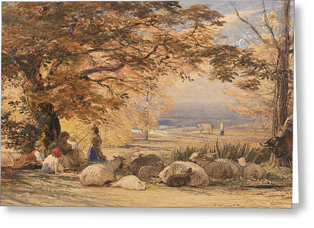 Rustic Contentment Greeting Card by Samuel Palmer