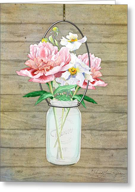Mason Jar Greeting Cards - Rustic Country Peony n Poppy Mason Jar Bouquet on Wooden Fence Greeting Card by Audrey Jeanne Roberts