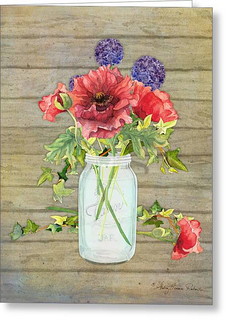 Mason Jar Greeting Cards - Rustic Country Red Poppy w Alium n Ivy in a Mason Jar Bouquet on Wooden Fence Greeting Card by Audrey Jeanne Roberts