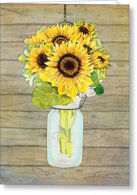 Mason Jar Greeting Cards - Rustic Country Sunflowers in Mason Jar Greeting Card by Audrey Jeanne Roberts