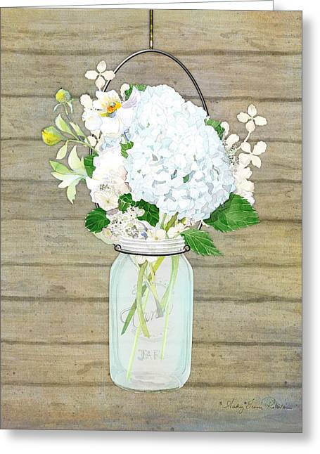 Mason Jar Greeting Cards - Rustic Country White Hydrangea n Matillija Poppy Mason Jar Bouquet on Wooden Fence Greeting Card by Audrey Jeanne Roberts